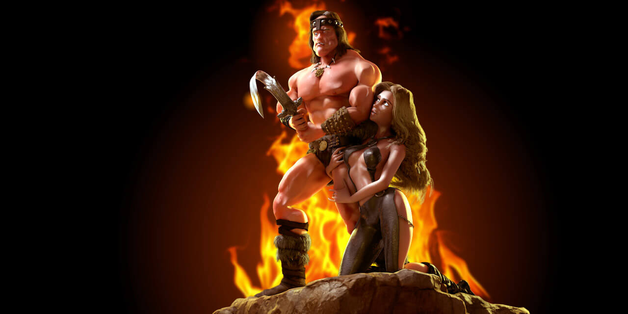 conan, barbarian, schwarzenegger, caricature, sword, muscles, woman, man, hair