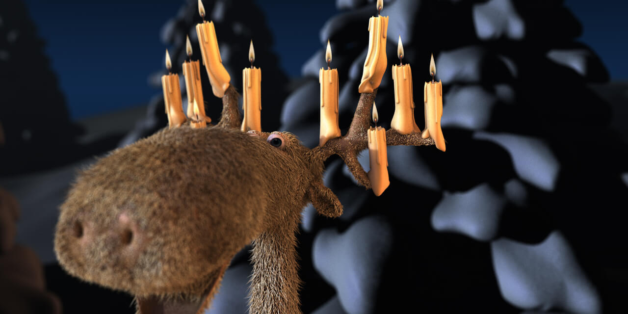 elk, candles, christmas, snow, night, dark, fur, hair, 3d