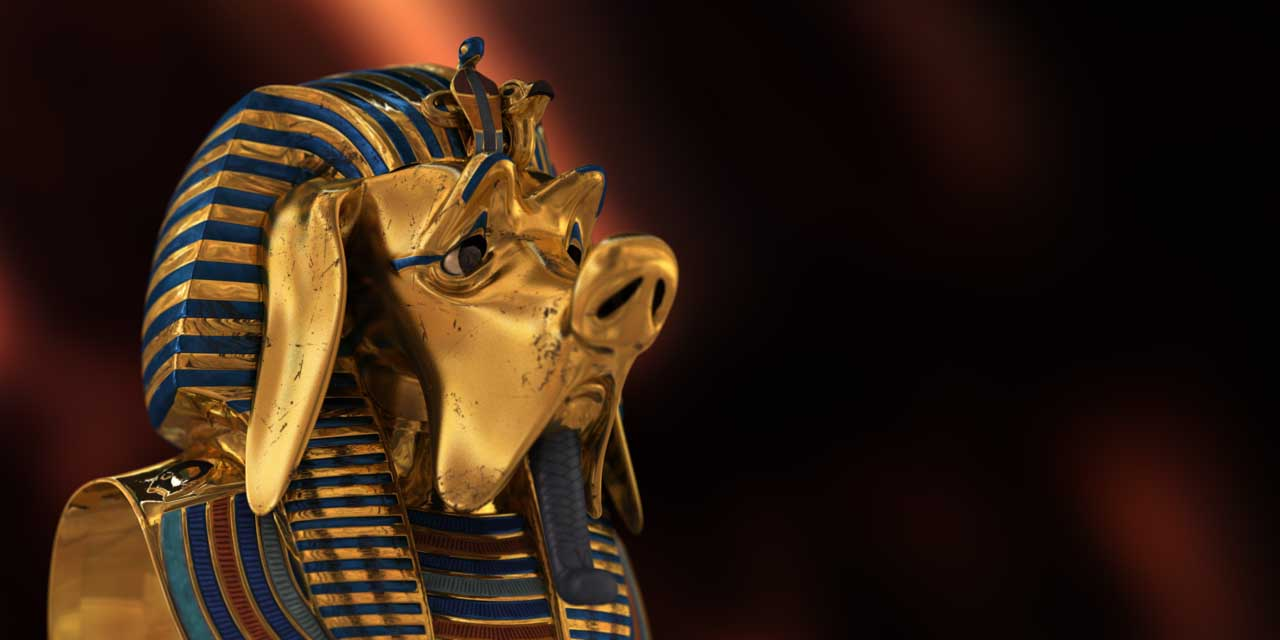 pharaoh, egypt, wiener, dog, mask, gold, 3d