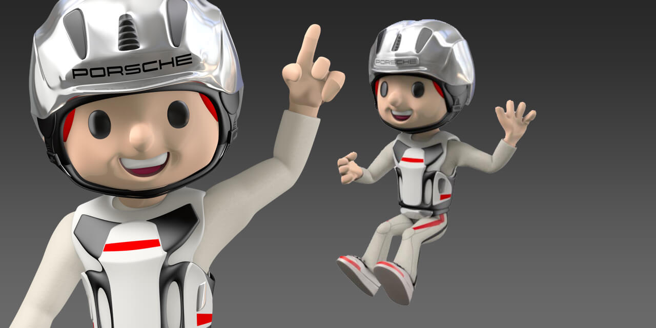 porsche, car, helmet, mascot, kids, traffic, 3d