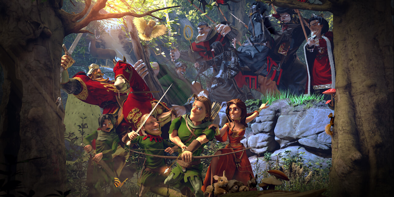 robin, hood, forest, bow, arrow, medieval, fantasy, tree, owl, bird, squirrel, rabbit, woman, character, sword, horse, deer, mushroom, lance, prince, king, plants, 3d