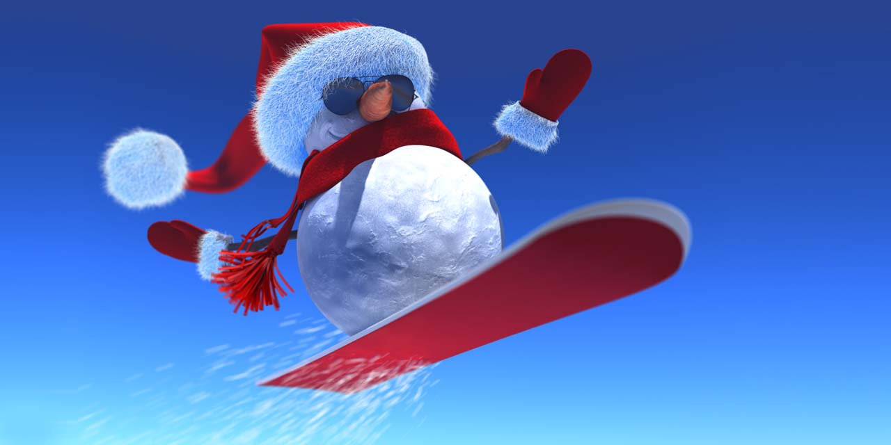 snow, snowman, christmas, xmas, snowboard, winter, sunglasses