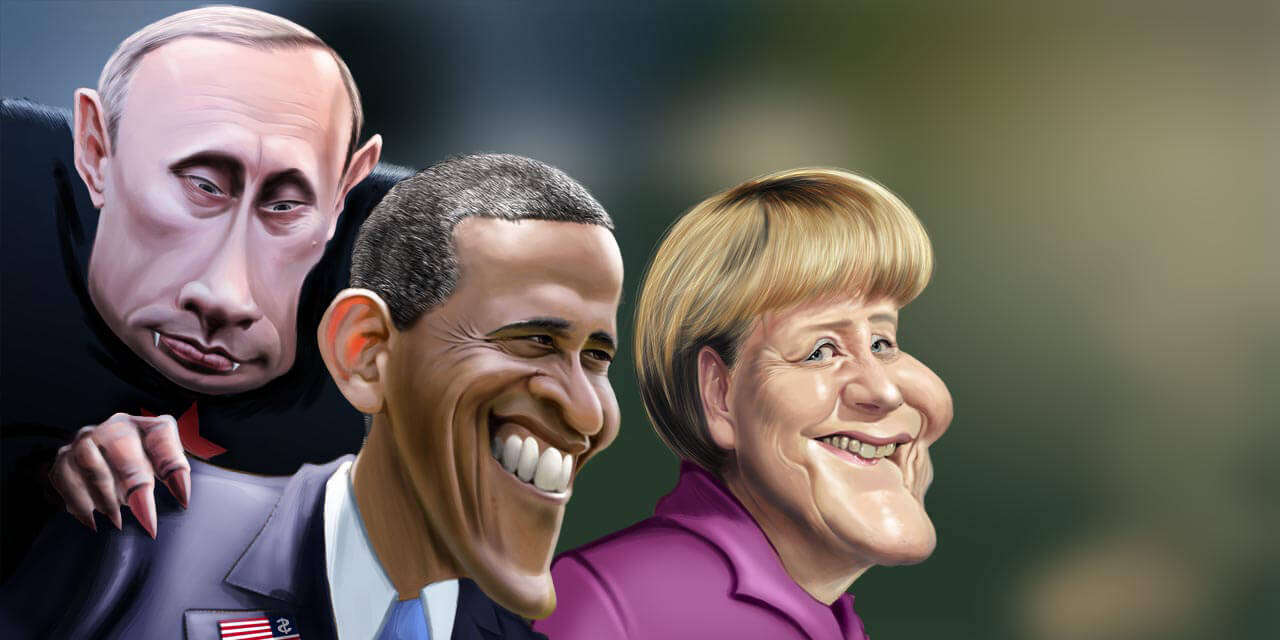 merkel, obama, putin, caricature, comic, political, politics