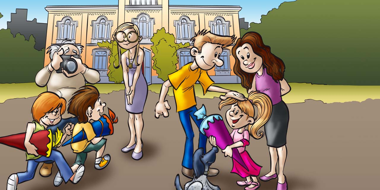bank, school, kid, kids, boy, girl, man, woman, cartoon