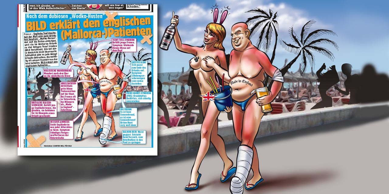 bild, mallorca, holiday, tourist, travel, england, cartoon, brit, british