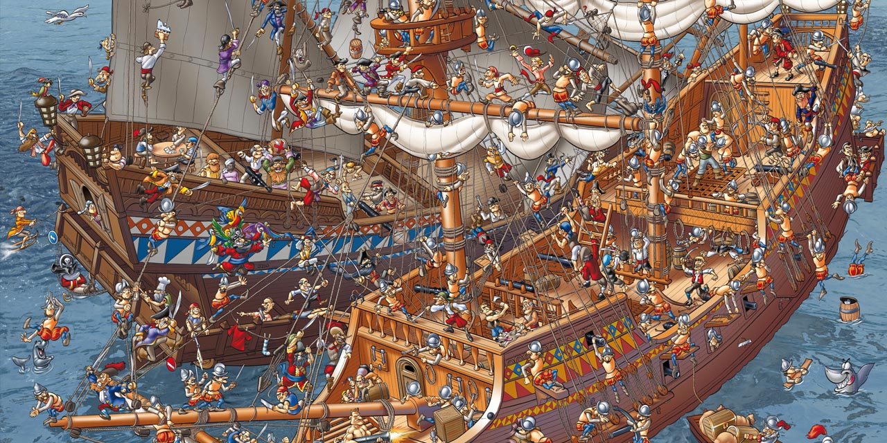 pirat, pirates, ship, sea, ocean, galleon, board, detail