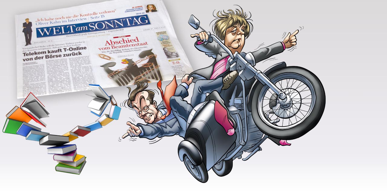 welt, sunday, newspaper, cover, book, motor bike, motor cycle, caricature, merkel