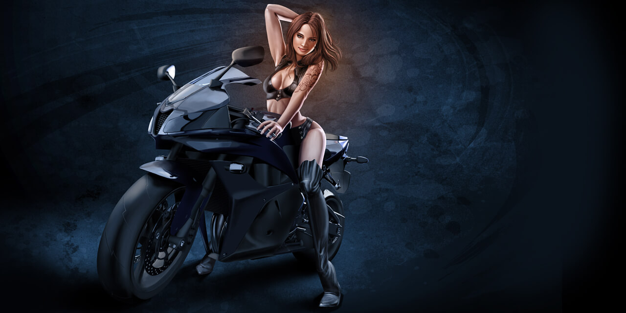 motor, bike, woman, girl, pin-up, pinup, pin up, leather