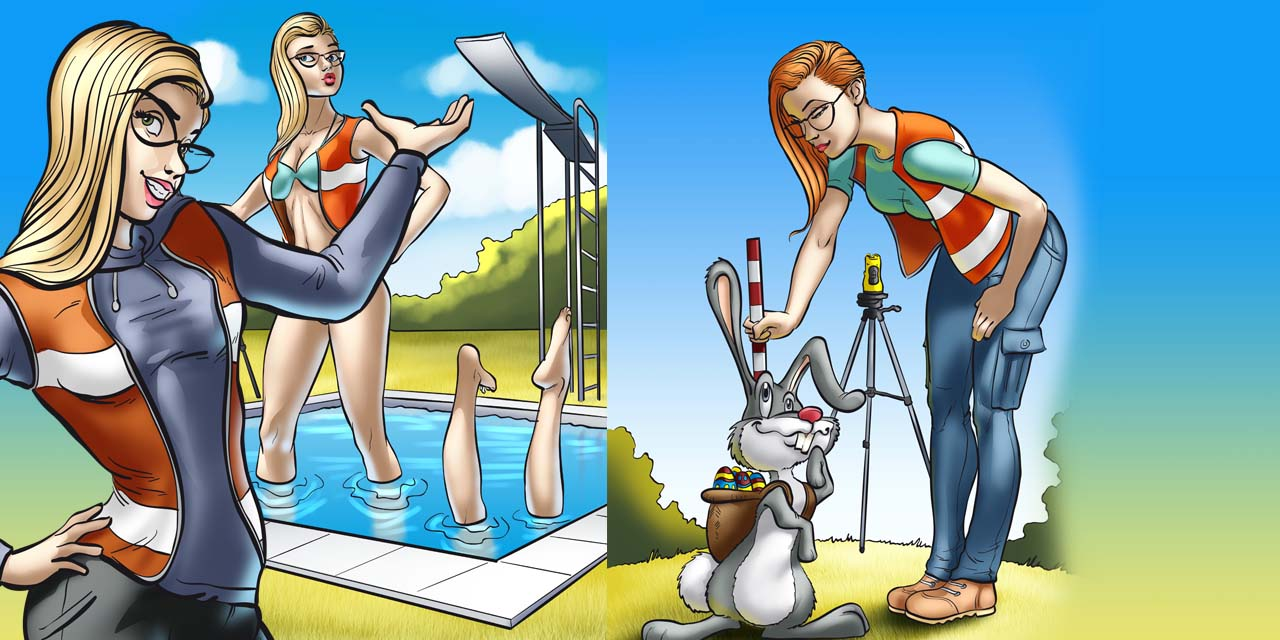 heidi, evp, mascot, woman, women, surveyor, blonde, pool, rabbit, bunny, easter, diving board