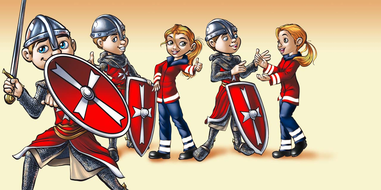 hospitaller, knight, man, girl, medic, sword, shield, medieval, helmet