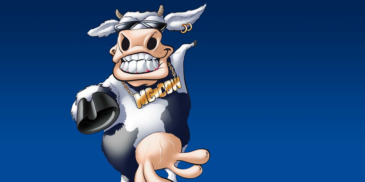 mc, cow, cool, sunglasses, mascot