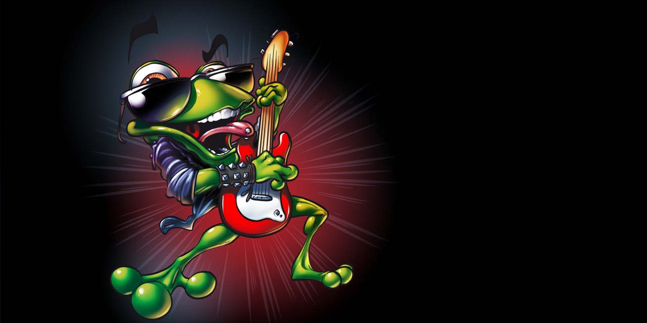 frog, label, guitar, music, sunglasses, mascot, animal, animals