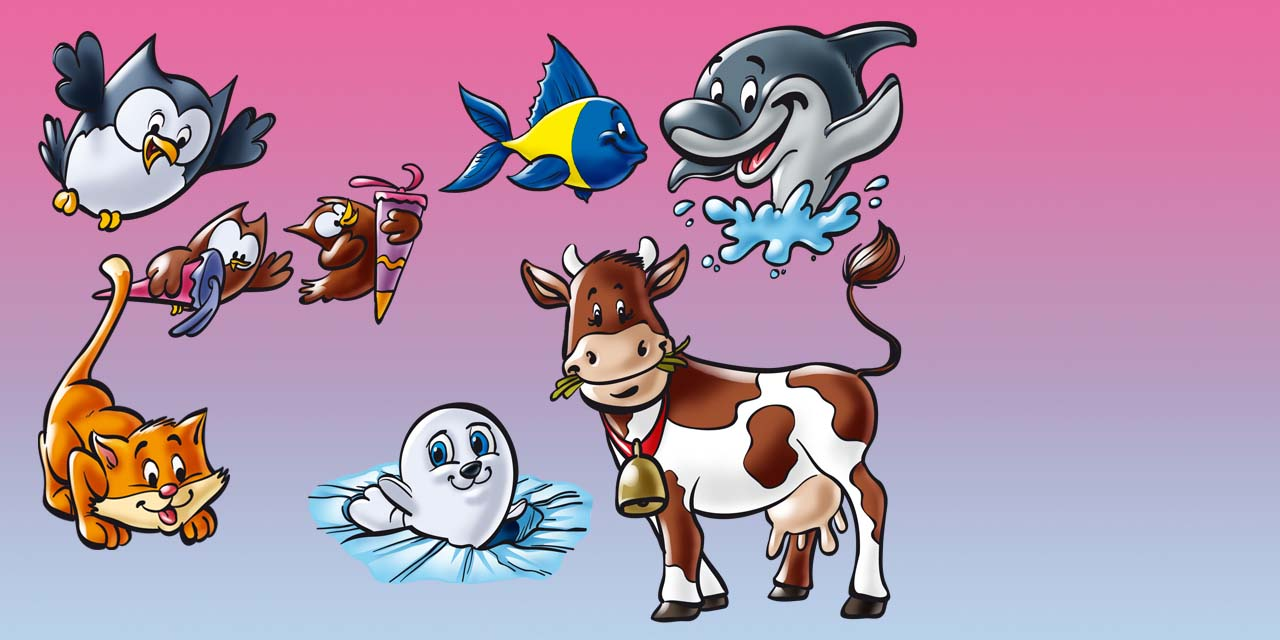 Zott, Monte, calendar, owl, fish, dolphin, cow, seal, cat