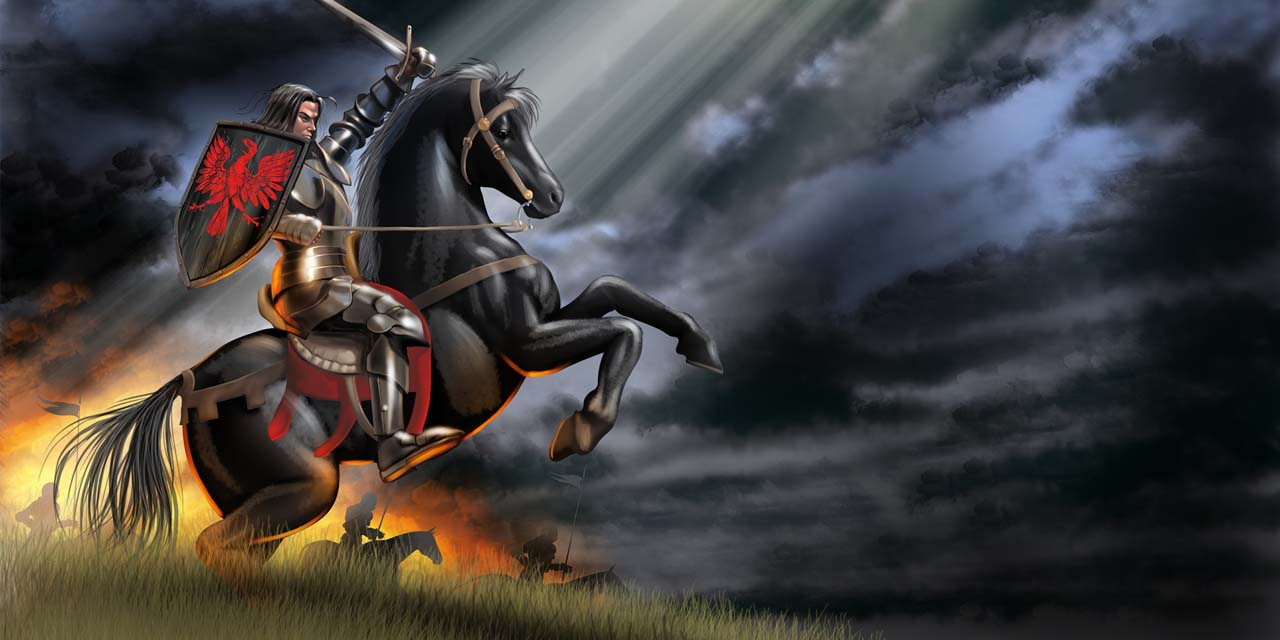 knight, sword, horse, landscape, sunset, shield, armour, armor, fight, clouds, cloud